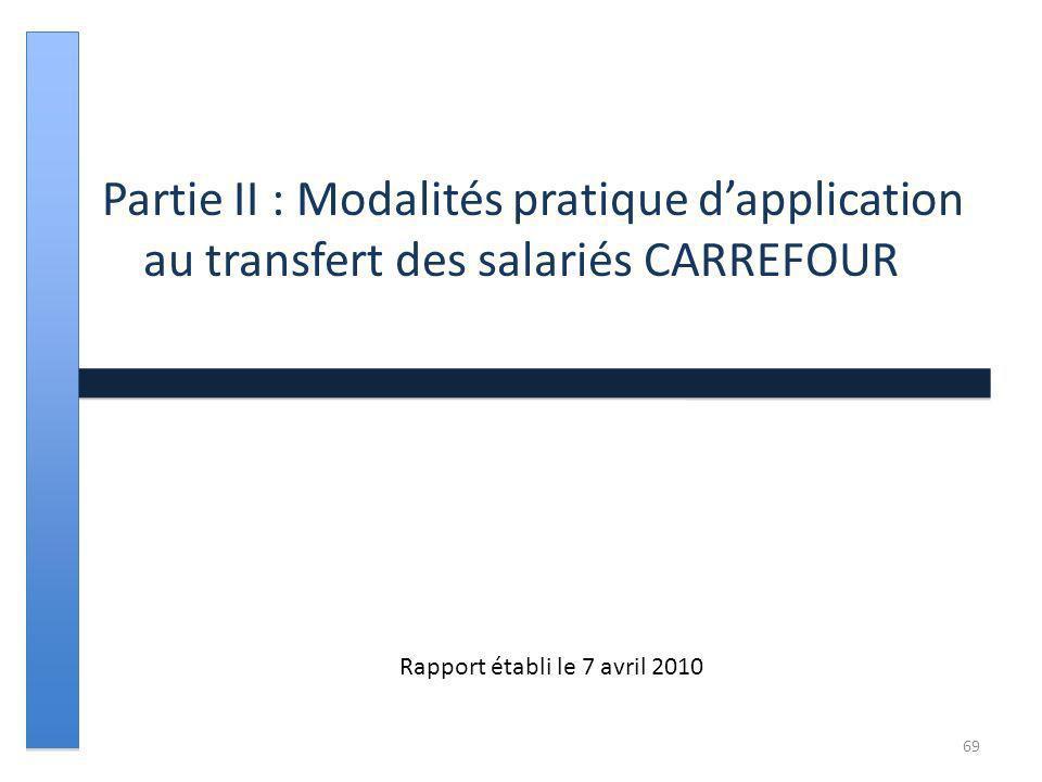 Partie II : Modalités pratique dapplication au transfert des salariés CARREFOUR Rapport établi le 7 avril 2010 69
