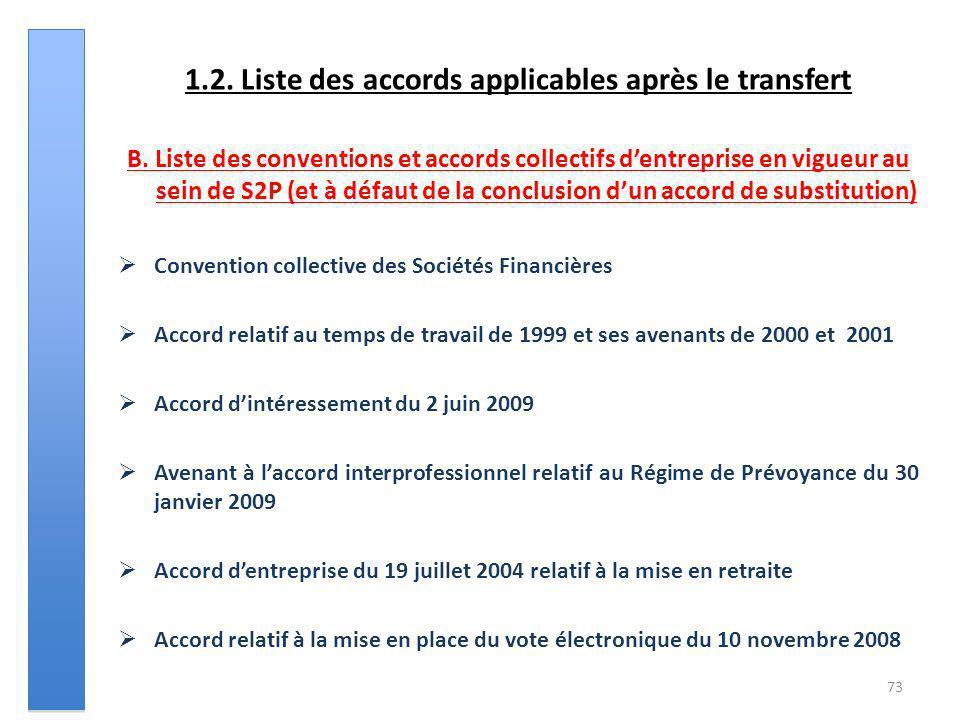 1.2. Liste des accords applicables après le transfert B. Liste des conventions et accords collectifs dentreprise en vigueur au sein de S2P (et à défau