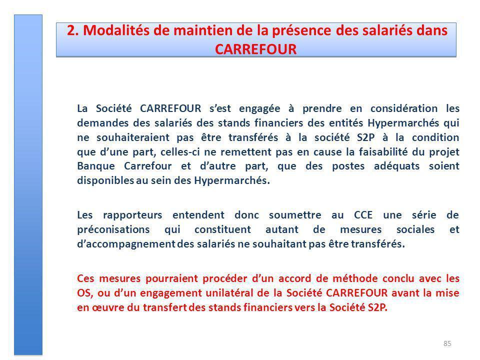 1.4. Liste des accords applicables avant le transfert La Société CARREFOUR sest engagée à prendre en considération les demandes des salariés des stand