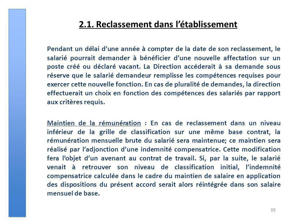 2.1. Reclassement dans létablissement Pendant un délai dune année à compter de la date de son reclassement, le salarié pourrait demander à bénéficier