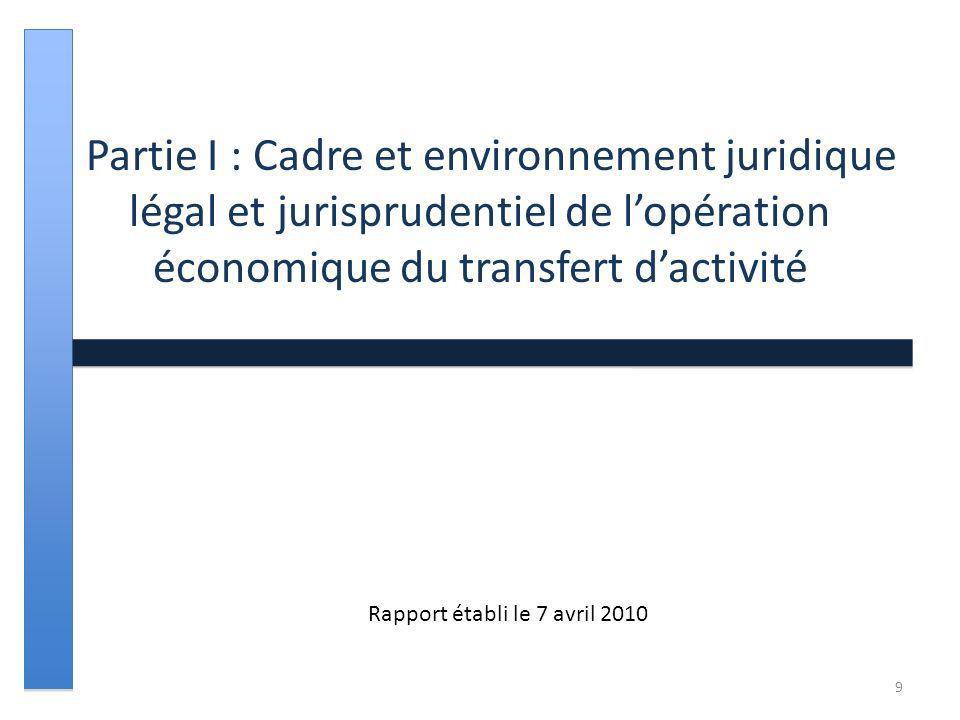 Partie I : Cadre et environnement juridique légal et jurisprudentiel de lopération économique du transfert dactivité Rapport établi le 7 avril 2010 9