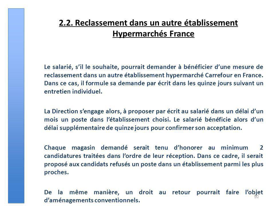 2.2. Reclassement dans un autre établissement Hypermarchés France Le salarié, sil le souhaite, pourrait demander à bénéficier dune mesure de reclassem