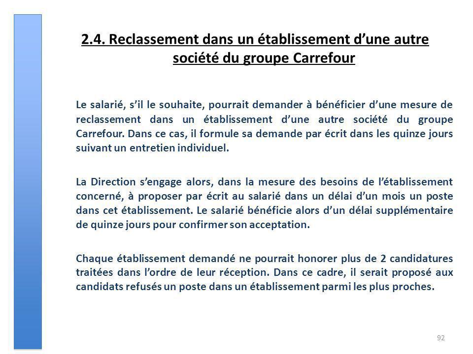 2.4. Reclassement dans un établissement dune autre société du groupe Carrefour Le salarié, sil le souhaite, pourrait demander à bénéficier dune mesure
