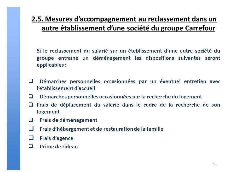 2.5. Mesures daccompagnement au reclassement dans un autre établissement dune société du groupe Carrefour Si le reclassement du salarié sur un établis