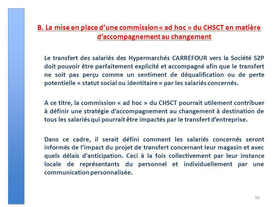 B. La mise en place dune commission « ad hoc » du CHSCT en matière daccompagnement au changement Le transfert des salariés des Hypermarchés CARREFOUR