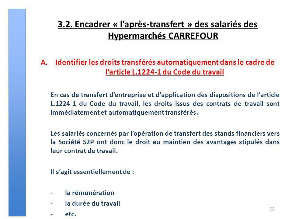 3.2. Encadrer « laprès-transfert » des salariés des Hypermarchés CARREFOUR A.Identifier les droits transférés automatiquement dans le cadre de larticl