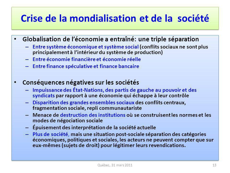 Crise de la mondialisation et de la société Globalisation de léconomie a entraîné: une triple séparation – Entre système économique et système social