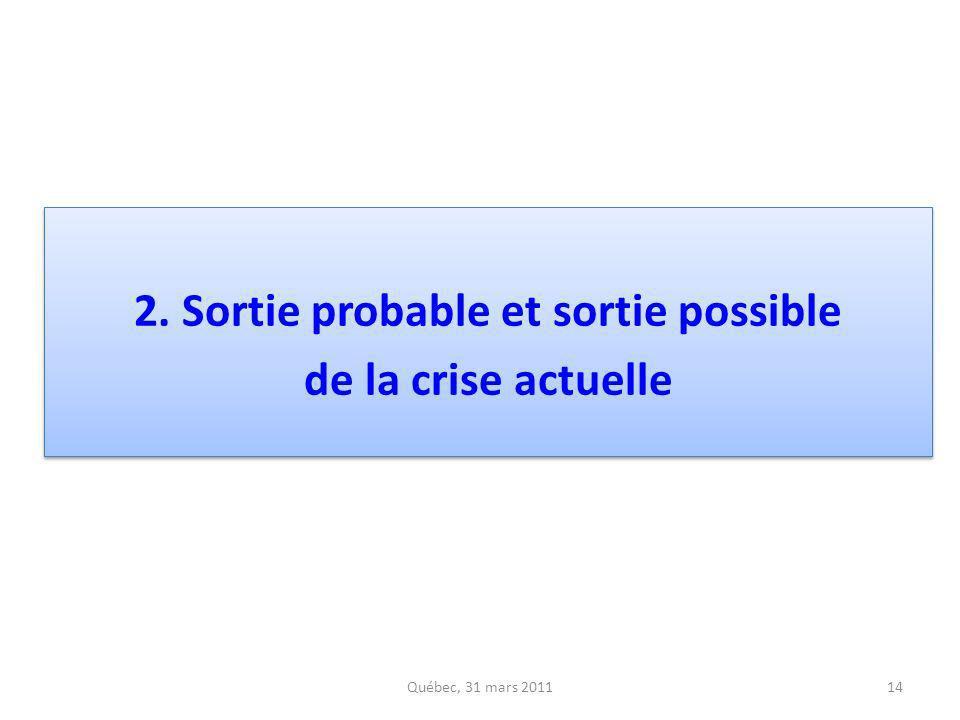 2. Sortie probable et sortie possible de la crise actuelle 2. Sortie probable et sortie possible de la crise actuelle 14Québec, 31 mars 2011