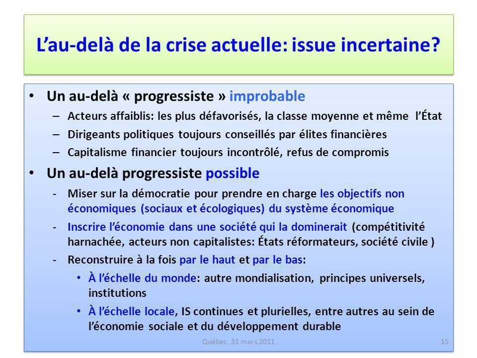 Lau-delà de la crise actuelle: issue incertaine? Un au-delà « progressiste » improbable – Acteurs affaiblis: les plus défavorisés, la classe moyenne e
