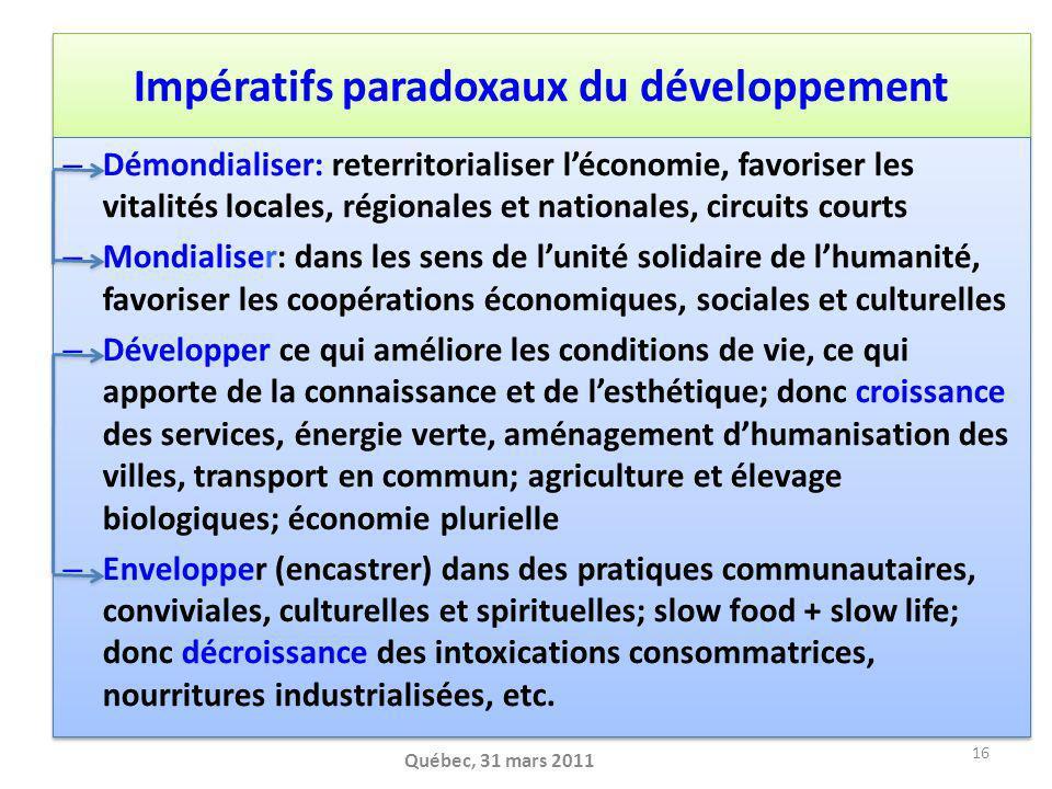 Impératifs paradoxaux du développement – Démondialiser: reterritorialiser léconomie, favoriser les vitalités locales, régionales et nationales, circui