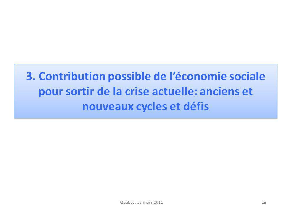 3. Contribution possible de léconomie sociale pour sortir de la crise actuelle: anciens et nouveaux cycles et défis Québec, 31 mars 201118