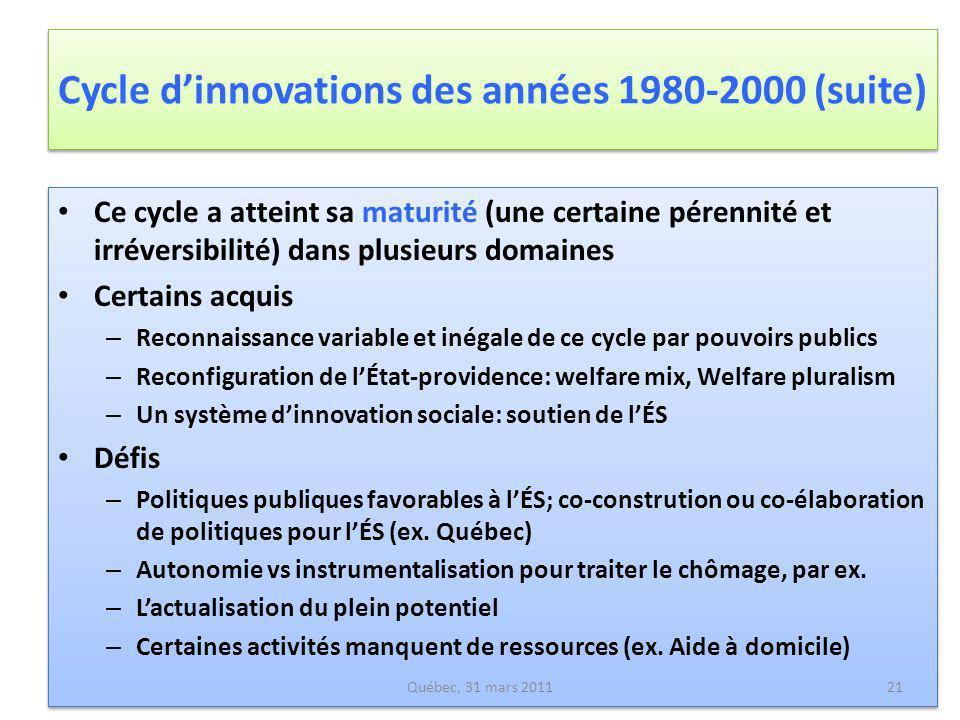 Cycle dinnovations des années 1980-2000 (suite) Ce cycle a atteint sa maturité (une certaine pérennité et irréversibilité) dans plusieurs domaines Cer