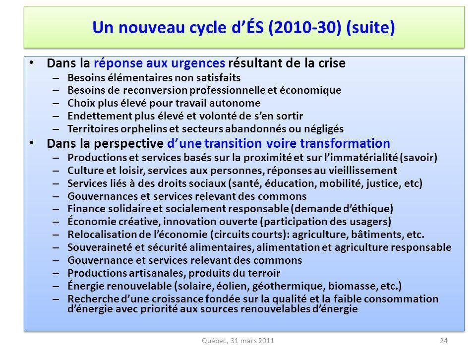 Québec, 31 mars 2011 Dans la réponse aux urgences résultant de la crise – Besoins élémentaires non satisfaits – Besoins de reconversion professionnell