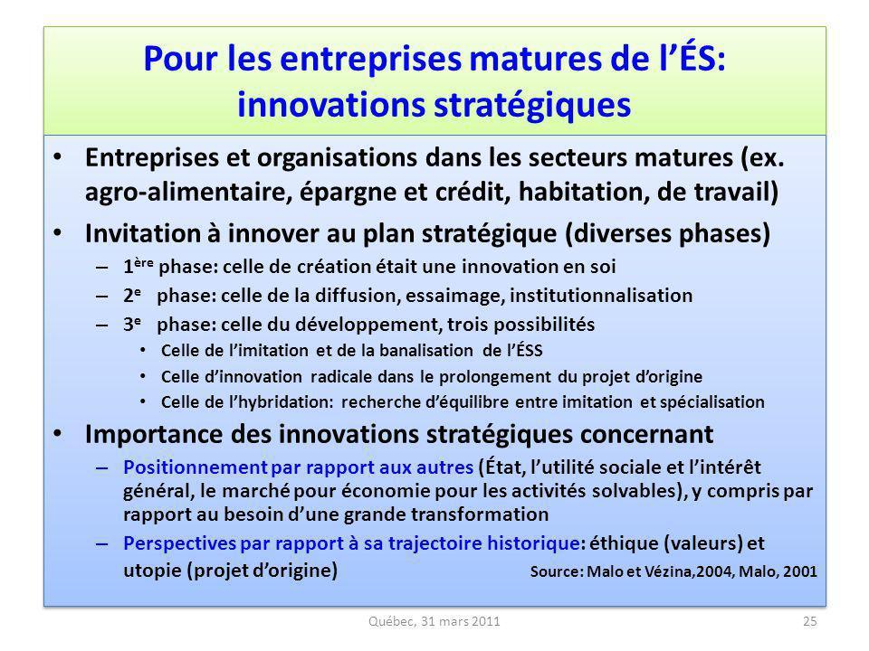 Pour les entreprises matures de lÉS: innovations stratégiques Entreprises et organisations dans les secteurs matures (ex. agro-alimentaire, épargne et