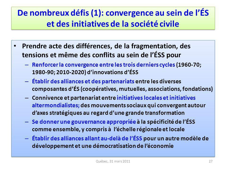 De nombreux défis (1): convergence au sein de lÉS et des initiatives de la société civile Prendre acte des différences, de la fragmentation, des tensi