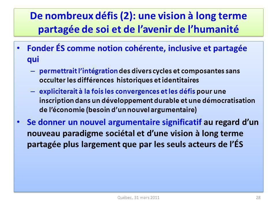 De nombreux défis (2): une vision à long terme partagée de soi et de lavenir de lhumanité Fonder ÉS comme notion cohérente, inclusive et partagée qui