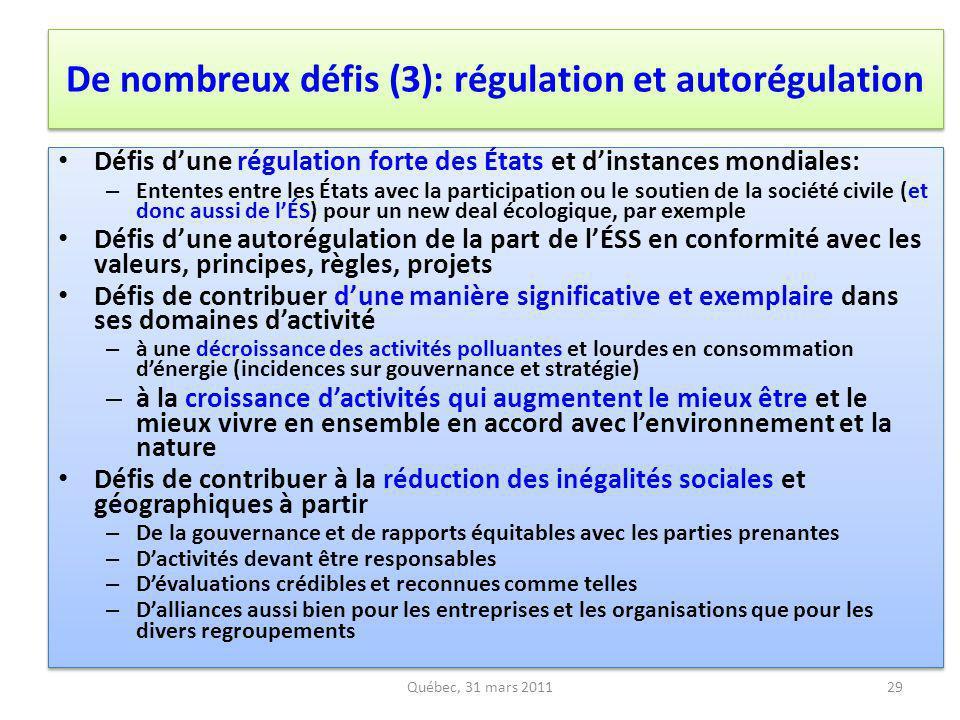 De nombreux défis (3): régulation et autorégulation Défis dune régulation forte des États et dinstances mondiales: – Ententes entre les États avec la
