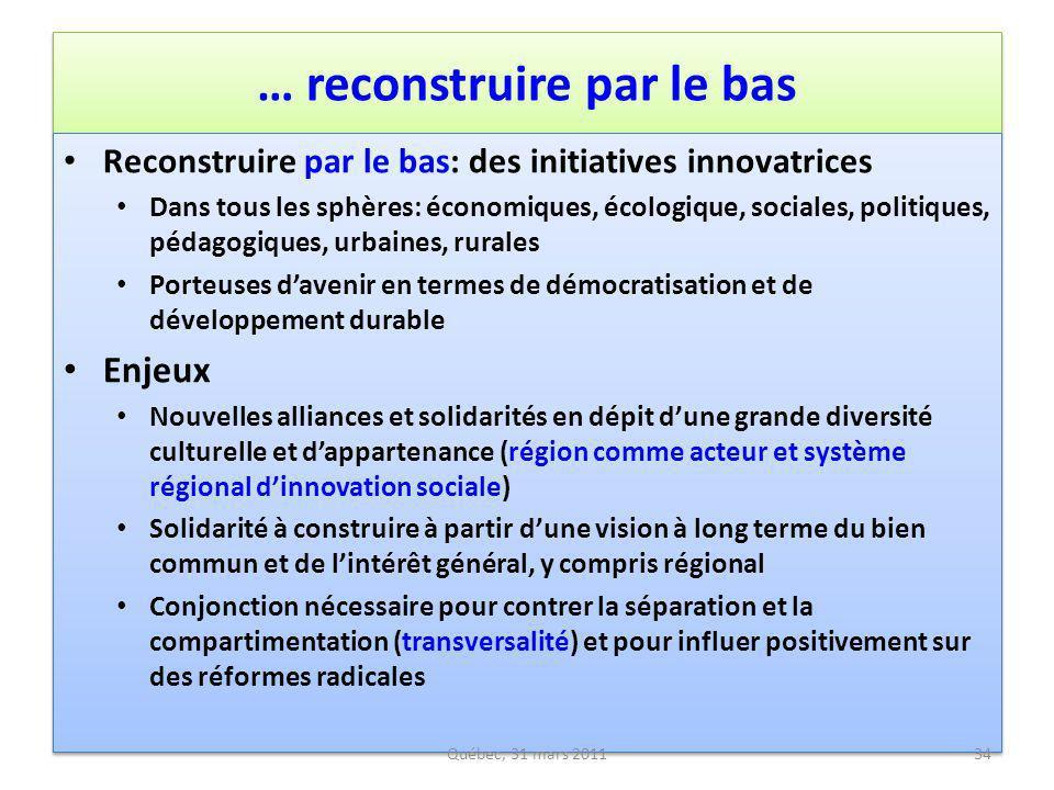 … reconstruire par le bas Reconstruire par le bas: des initiatives innovatrices Dans tous les sphères: économiques, écologique, sociales, politiques,