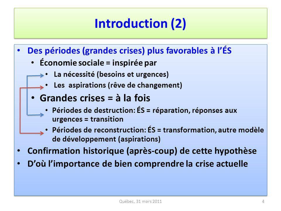 Introduction (2) Des périodes (grandes crises) plus favorables à lÉS Économie sociale = inspirée par La nécessité (besoins et urgences) Les aspiration