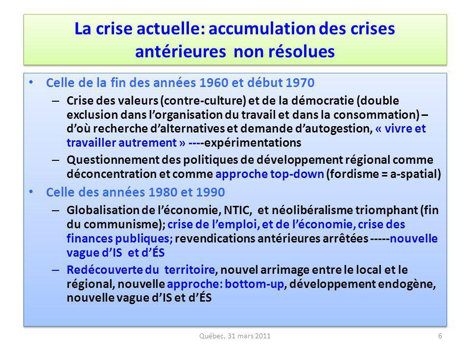 De nombreux défis (1): convergence au sein de lÉS et des initiatives de la société civile Prendre acte des différences, de la fragmentation, des tensions et même des conflits au sein de lÉSS pour – Renforcer la convergence entre les trois derniers cycles (1960-70; 1980-90; 2010-2020) dinnovations dÉSS – Établir des alliances et des partenariats entre les diverses composantes dÉS (coopératives, mutuelles, associations, fondations) – Connivence et partenariat entre initiatives locales et initiatives altermondialistes; des mouvements sociaux qui convergent autour daxes stratégiques au regard dune grande transformation – Se donner une gouvernance appropriée à la spécificité de lÉSS comme ensemble, y compris à léchelle régionale et locale – Établir des alliances allant au-delà de lÉSS pour un autre modèle de développement et une démocratisation de léconomie Prendre acte des différences, de la fragmentation, des tensions et même des conflits au sein de lÉSS pour – Renforcer la convergence entre les trois derniers cycles (1960-70; 1980-90; 2010-2020) dinnovations dÉSS – Établir des alliances et des partenariats entre les diverses composantes dÉS (coopératives, mutuelles, associations, fondations) – Connivence et partenariat entre initiatives locales et initiatives altermondialistes; des mouvements sociaux qui convergent autour daxes stratégiques au regard dune grande transformation – Se donner une gouvernance appropriée à la spécificité de lÉSS comme ensemble, y compris à léchelle régionale et locale – Établir des alliances allant au-delà de lÉSS pour un autre modèle de développement et une démocratisation de léconomie Québec, 31 mars 201127