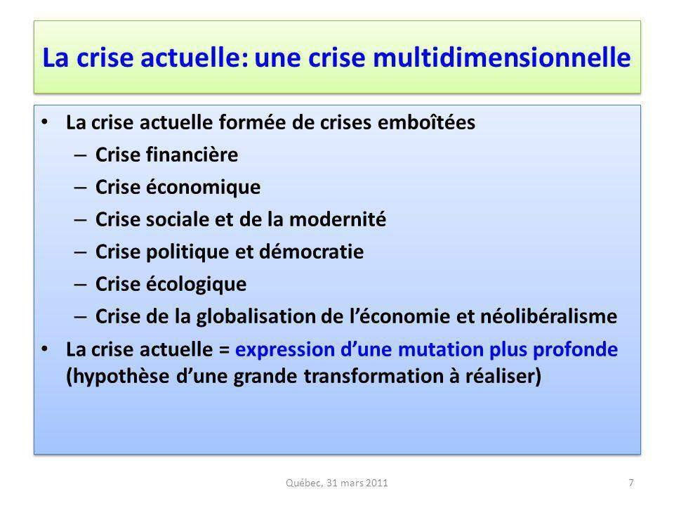 La crise actuelle: une crise multidimensionnelle La crise actuelle formée de crises emboîtées – Crise financière – Crise économique – Crise sociale et