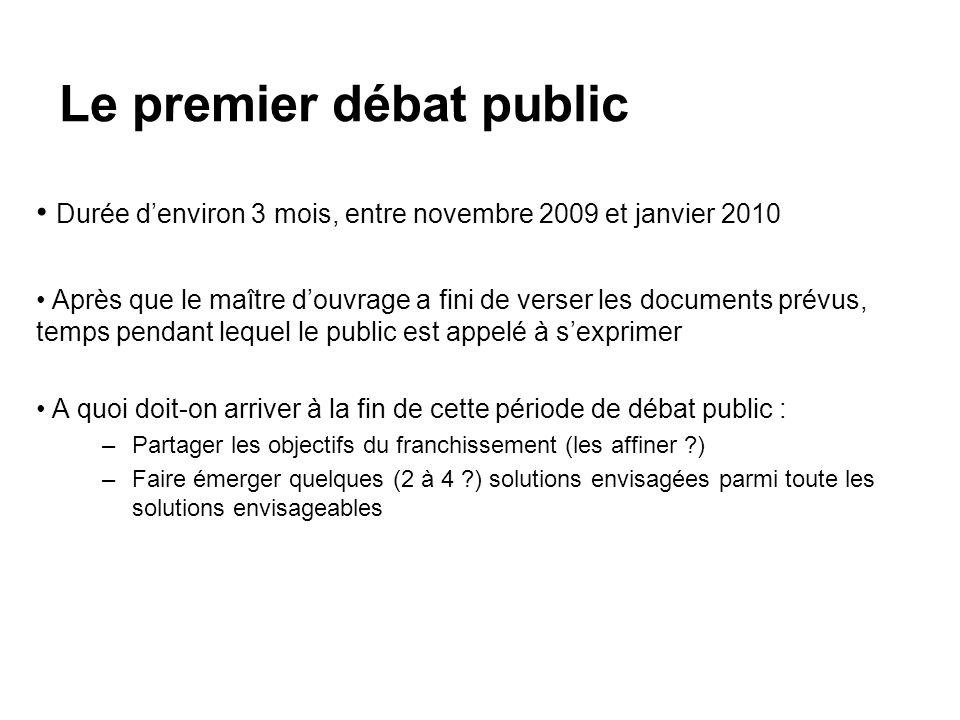 Le premier débat public Durée denviron 3 mois, entre novembre 2009 et janvier 2010 Après que le maître douvrage a fini de verser les documents prévus,