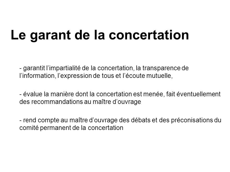 Le garant de la concertation - garantit limpartialité de la concertation, la transparence de linformation, lexpression de tous et lécoute mutuelle, -
