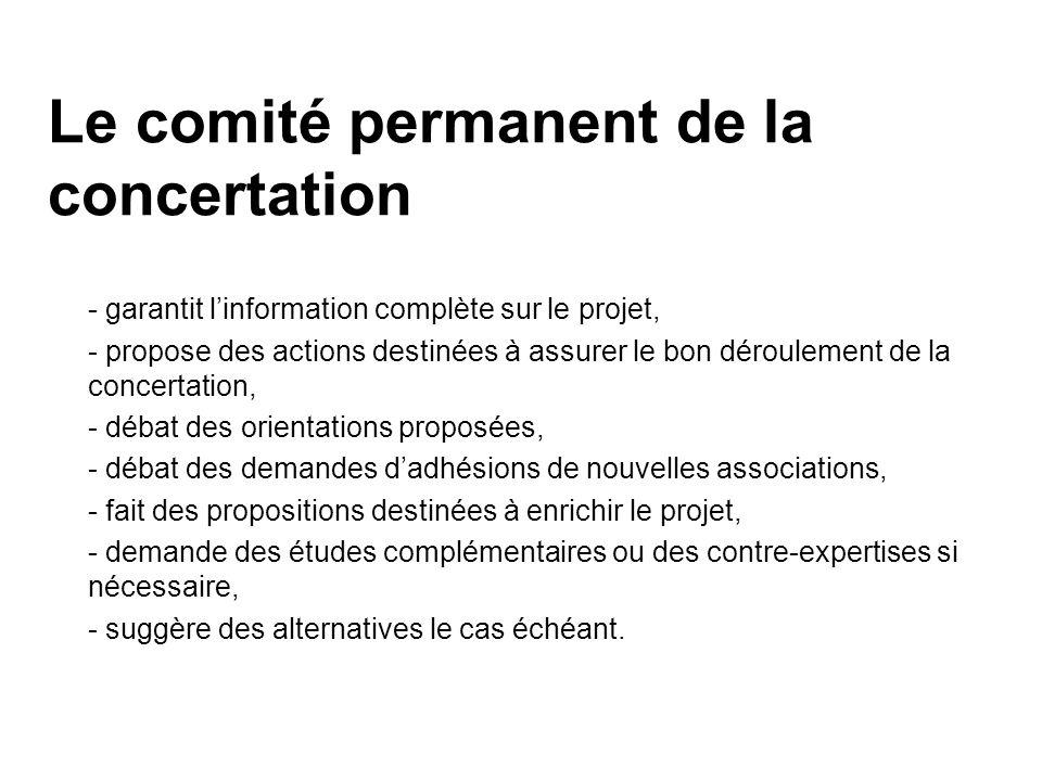 Le comité permanent de la concertation - garantit linformation complète sur le projet, - propose des actions destinées à assurer le bon déroulement de