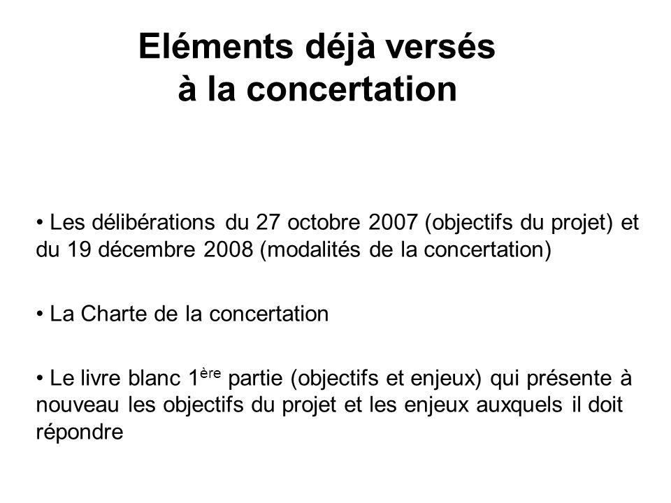 Eléments déjà versés à la concertation Les délibérations du 27 octobre 2007 (objectifs du projet) et du 19 décembre 2008 (modalités de la concertation