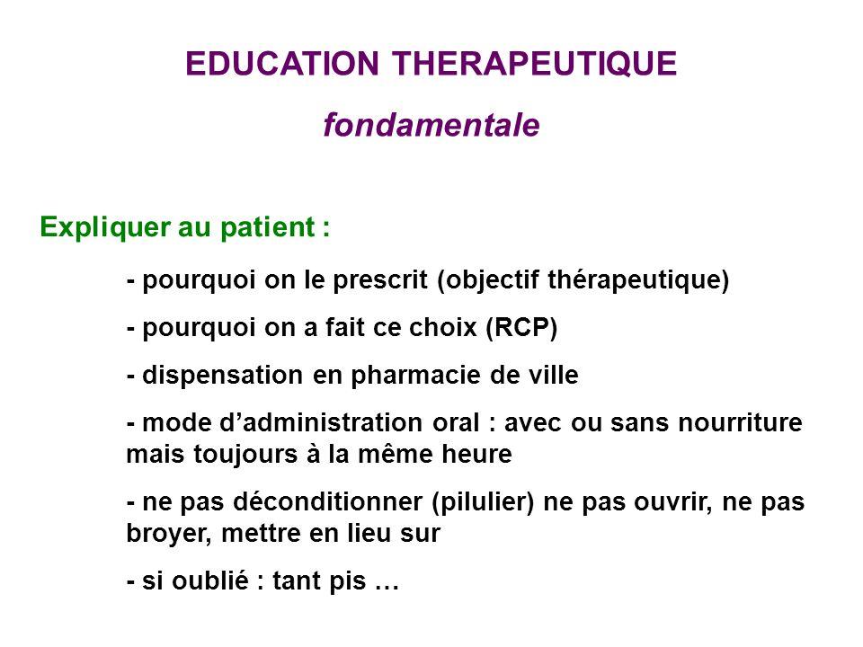 EDUCATION THERAPEUTIQUE fondamentale Expliquer au patient : - pourquoi on le prescrit (objectif thérapeutique) - pourquoi on a fait ce choix (RCP) - d
