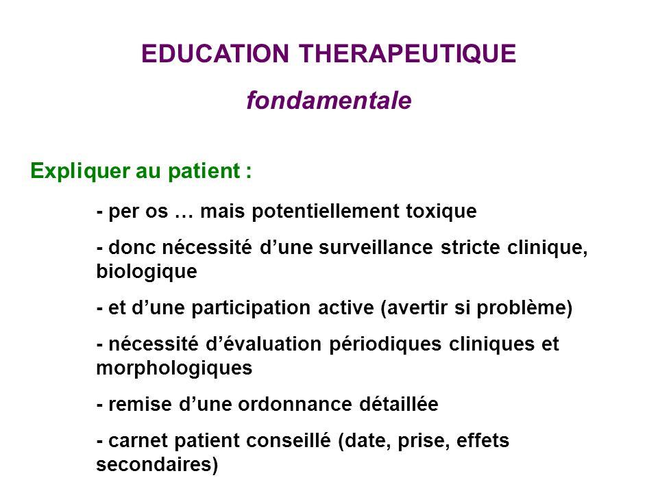 EDUCATION THERAPEUTIQUE fondamentale Expliquer au patient : - per os … mais potentiellement toxique - donc nécessité dune surveillance stricte cliniqu