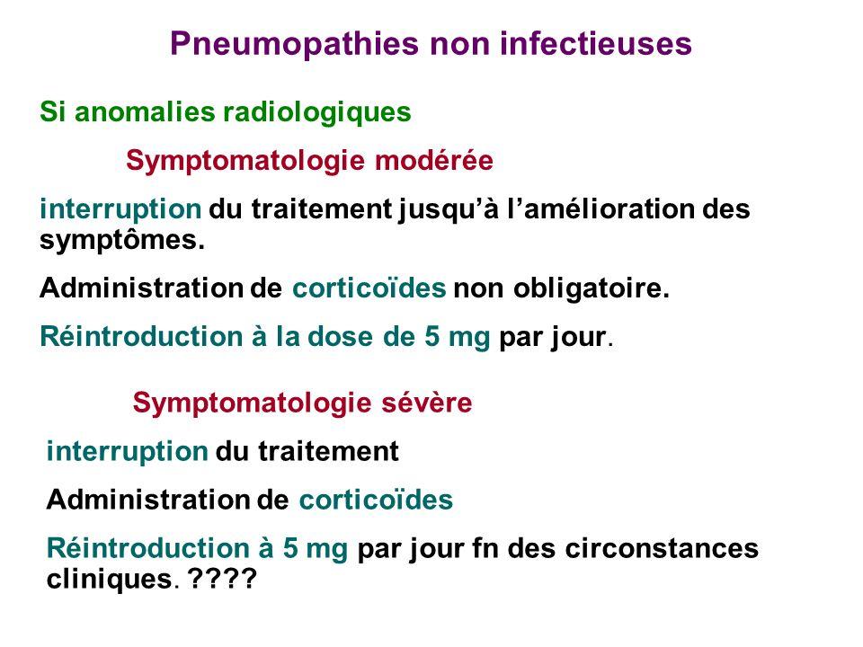 Pneumopathies non infectieuses Si anomalies radiologiques Symptomatologie modérée interruption du traitement jusquà lamélioration des symptômes.