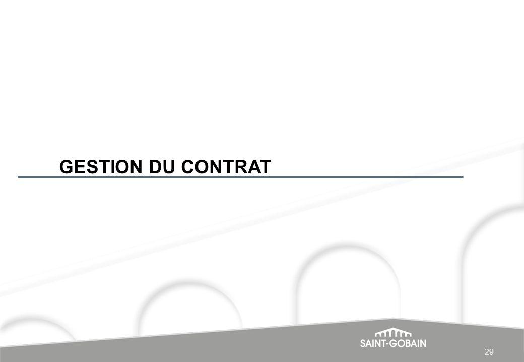 GESTION DU CONTRAT 29