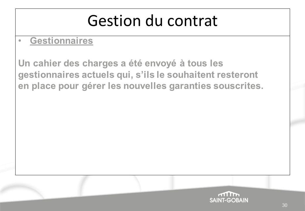 Gestion du contrat Gestionnaires Un cahier des charges a été envoyé à tous les gestionnaires actuels qui, sils le souhaitent resteront en place pour g