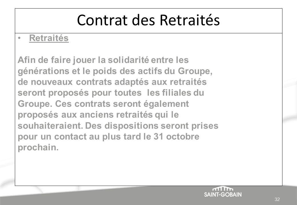 Contrat des Retraités Retraités Afin de faire jouer la solidarité entre les générations et le poids des actifs du Groupe, de nouveaux contrats adaptés