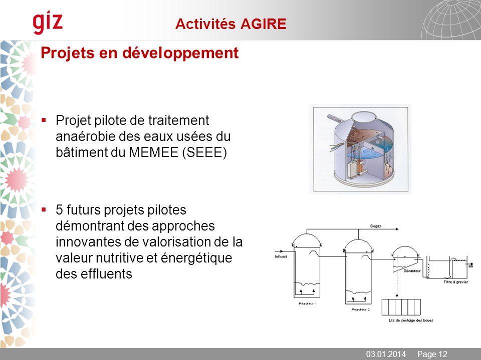 03.01.2014 Page 12 Projets en développement Projet pilote de traitement anaérobie des eaux usées du bâtiment du MEMEE (SEEE) 5 futurs projets pilotes