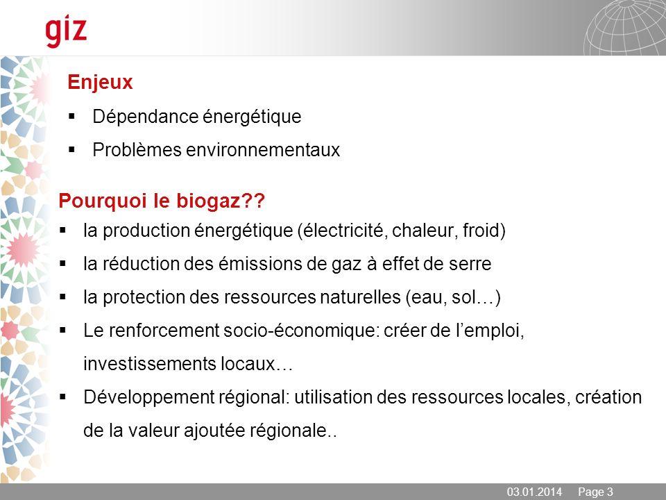 03.01.2014 Page 3 Enjeux Dépendance énergétique Problèmes environnementaux Pourquoi le biogaz?? la production énergétique (électricité, chaleur, froid