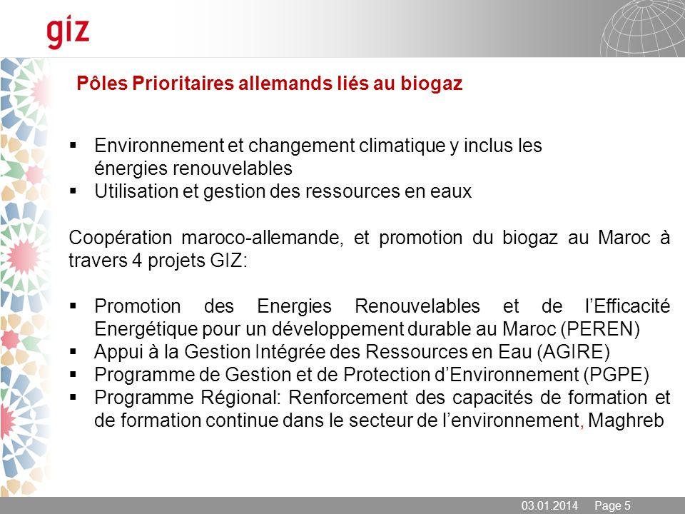 03.01.2014 Page 5 Coopération maroco-allemande, et promotion du biogaz au Maroc à travers 4 projets GIZ: Promotion des Energies Renouvelables et de lE