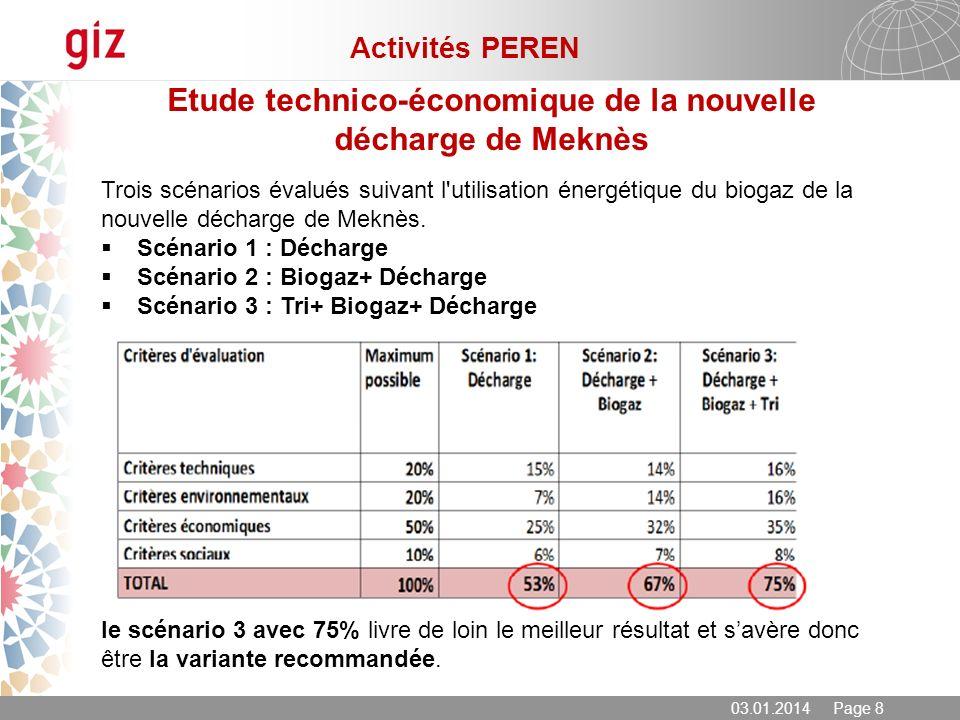 03.01.2014 Page 8 Etude technico-économique de la nouvelle décharge de Meknès Trois scénarios évalués suivant l'utilisation énergétique du biogaz de l