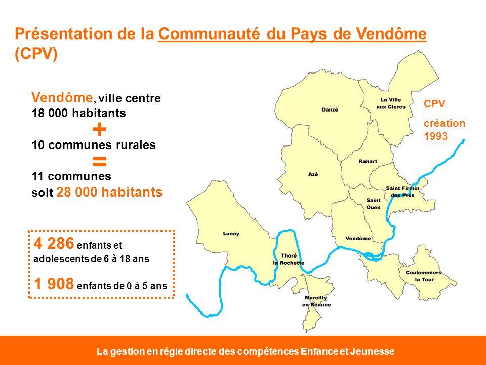 La gestion en régie directe des compétences Enfance et Jeunesse Présentation de la Communauté du Pays de Vendôme (CPV) Vendôme, ville centre 18 000 ha
