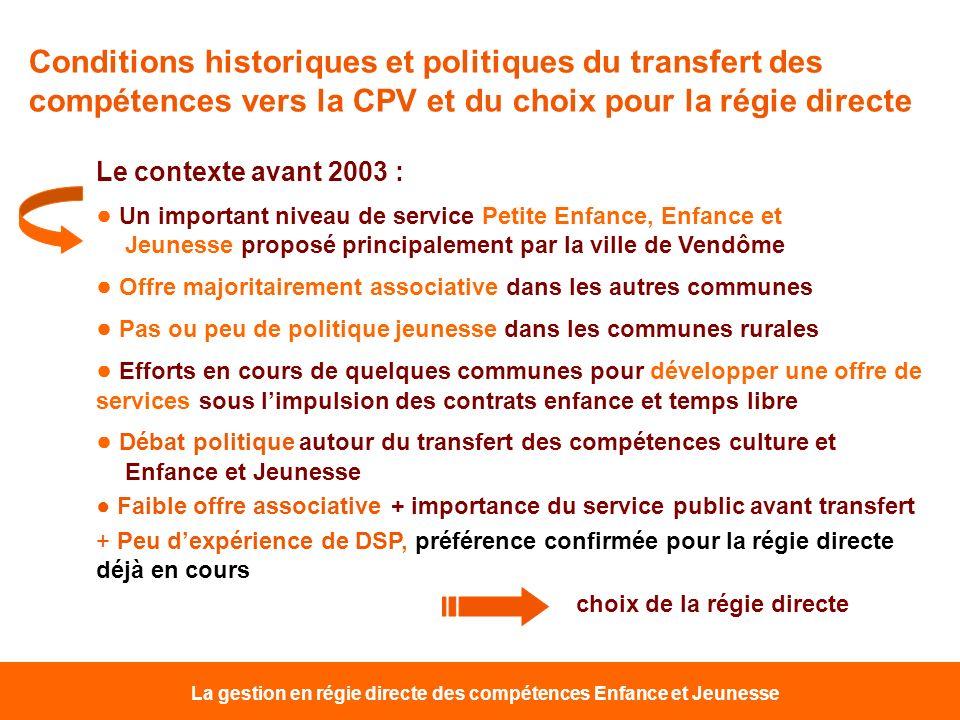 La gestion en régie directe des compétences Enfance et Jeunesse Conditions historiques et politiques du transfert des compétences vers la CPV et du ch