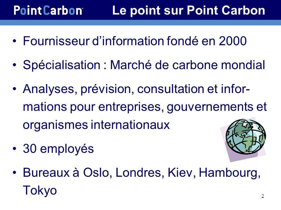 2 Le point sur Point Carbon Fournisseur dinformation fondé en 2000 Spécialisation : Marché de carbone mondial Analyses, prévision, consultation et infor- mations pour entreprises, gouvernements et organismes internationaux 30 employés Bureaux à Oslo, Londres, Kiev, Hambourg, Tokyo