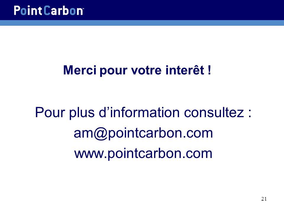 21 Merci pour votre interêt ! Pour plus dinformation consultez : am@pointcarbon.com www.pointcarbon.com