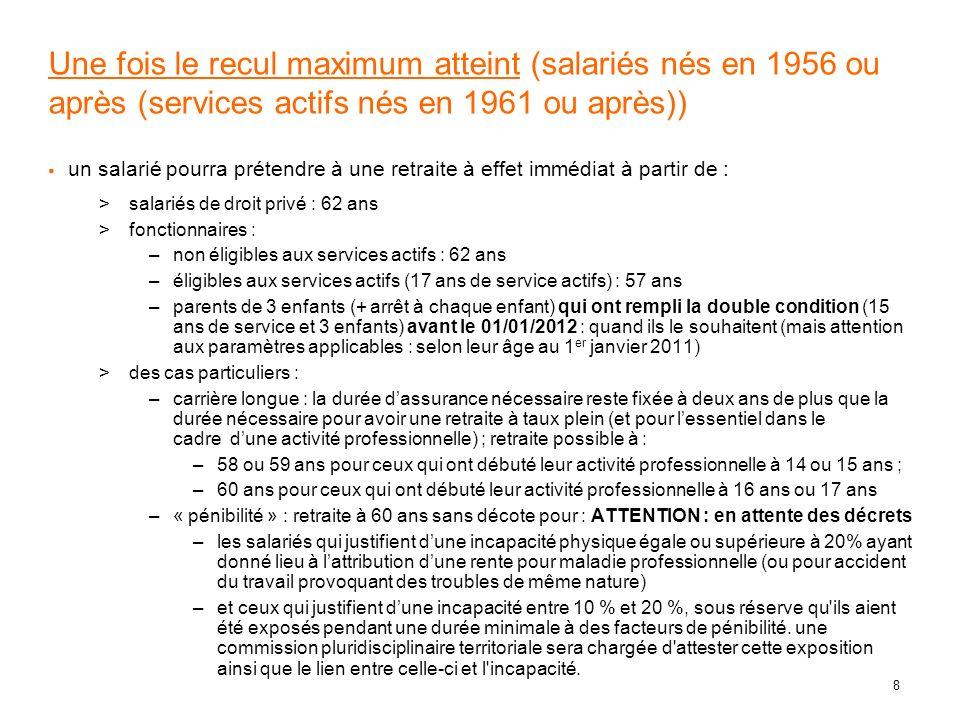 19 les paramètres de calcul dune retraite Tableau des âges (T3) Age à partir duquel il ny a plus de décote Année douverture des droits Fonction publique Régime général Cas général éligibles services actifs (limite dâge 60 ans) 2003 (ou moins) 2004 2005 2006 2007 2008 2009 2010 2011 2012 Ensuite N/A (pas de décote) 61 ans 61,5 ans 62 ans 62,25 ans 62,5 ans 62,75 ans + recul (*) 63 ans + recul (*) +0,25 par an jusquen 2020 (65 ans + recul (*)) N/A (pas de décote) 56 ans 56,5 ans 57 ans 57,25 ans 57,5 ans 57,75 ans + recul (*) 58 ans + recul (*) +0,25 par an jusquen 2020 (60 ans + recul (*)) 65 ans 65 ans + recul (*) Nouveau (*) : il faut ajouter aux valeurs de cette table le recul programmé selon lannée de naissance (tableau T0) : 4 mois pour les nés en 1951 (1956 pour les services actifs), 8 mois en 1952, …