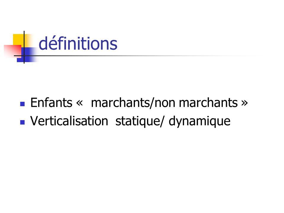 définitions Enfants « marchants/non marchants » Verticalisation statique/ dynamique