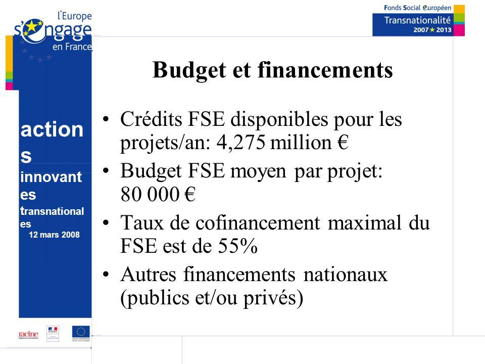 action s innovant es t ransnational es 12 mars 2008 Budget et financements Crédits FSE disponibles pour les projets/an: 4,275 million Budget FSE moyen par projet: 80 000 Taux de cofinancement maximal du FSE est de 55% Autres financements nationaux (publics et/ou privés)