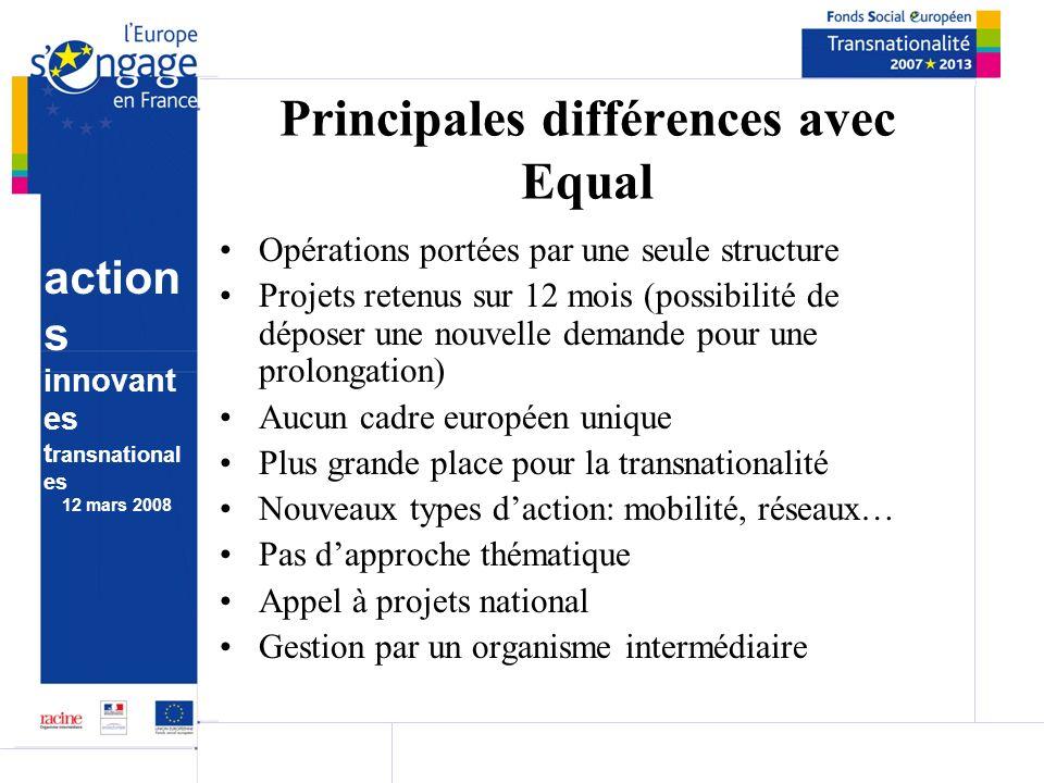 action s innovant es t ransnational es 12 mars 2008 Principales différences avec Equal Opérations portées par une seule structure Projets retenus sur