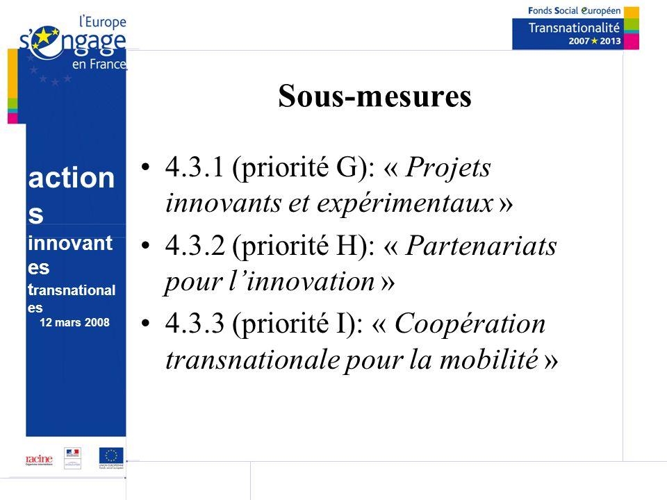 action s innovant es t ransnational es 12 mars 2008 Sous-mesures 4.3.1 (priorité G): « Projets innovants et expérimentaux » 4.3.2 (priorité H): « Partenariats pour linnovation » 4.3.3 (priorité I): « Coopération transnationale pour la mobilité »