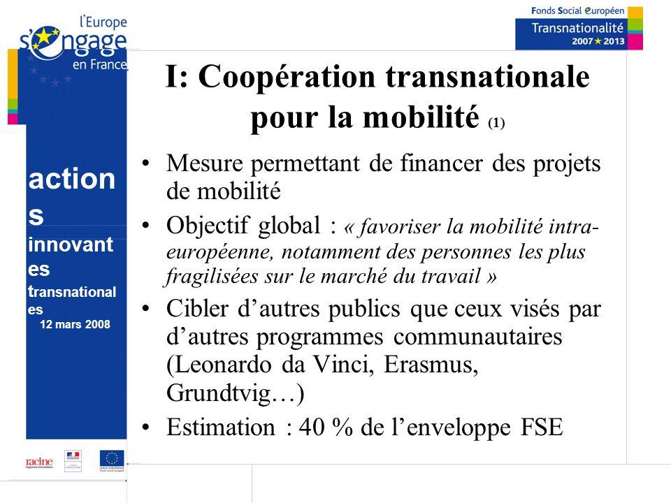 action s innovant es t ransnational es 12 mars 2008 I: Coopération transnationale pour la mobilité (1) Mesure permettant de financer des projets de mo