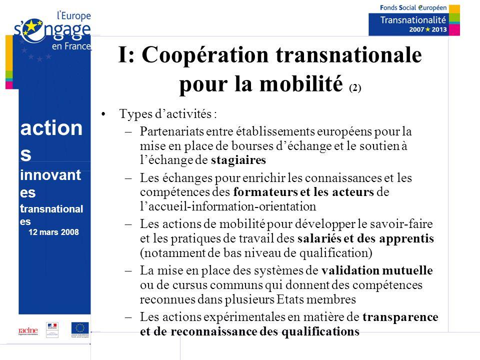 action s innovant es t ransnational es 12 mars 2008 I: Coopération transnationale pour la mobilité (2) Types dactivités : –Partenariats entre établiss